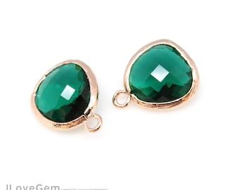 2pcs, P1750, Rose Gold plated, Emerald Green, Glass fancy rosecut 12.5mm, Glass pendant, Framed glass
