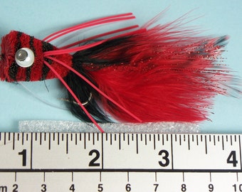 Bass bug,  Red and Black Popper , Fly fishing flies