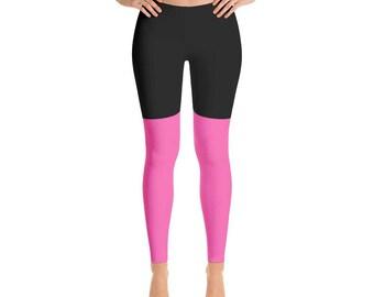 2 Tone Black/Hot Pink Leggings, Polyester and Spandex, Printed Leggings for Women