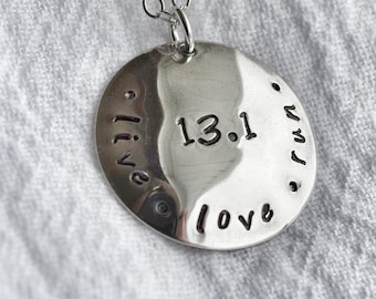 Half marathon Handstamped pendant necklace, 13.1