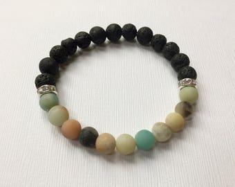 Amazonite & Lava Rock Aromatherapy Bracelet