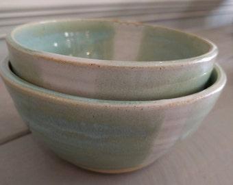 Whimsy Bowl Set in Mint, Ceramic Bowl Set, Handmade Bowl, Wheel Thrown Pottery, Pottery Bowl