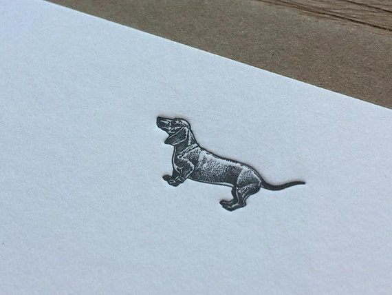 Dachshund - Letterpress Flat Note Card Set / Greeting Card Set / Cute / Animal Theme - 4 cards