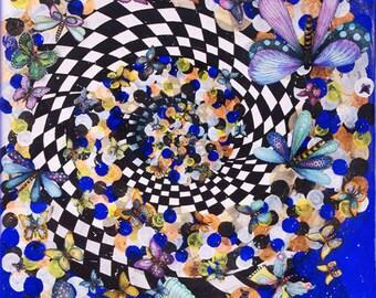 Acrylic on canvas, butterflies, dragonflies, centered, Zentangle elements, collage, watercolour, ink, paper, 77 x 106 cm, Portrait