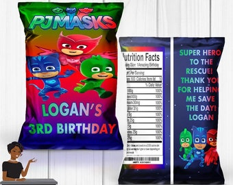 Pj Masks Party, PJ Masks Chip Bag, PJ Masks Party Favors, PJ Masks Decor, Chip Bag,Digital or Printed and Shipped