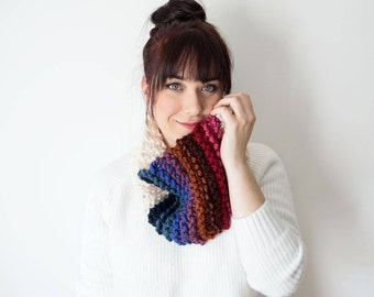 Knit Scarf Chunky Infinity Rainbow Cowl - The 'Rainbow' Chunky Knitted Cowl