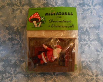 Miniature  Santa With Fireplace - Sealed - Vintage