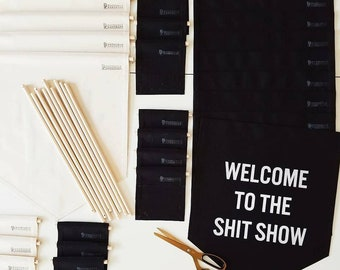 Handmade WELCOME to the SHIT SHOW Banner - Handmade Fabric Wall Hanging - Custom Wall Banner - Custom Penant
