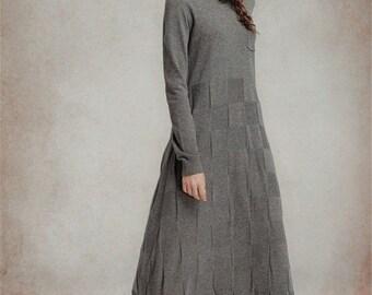 Maxi Wool Dress,grey Wool Dress, Maxi Winter Dress, Long Sweater Dress With Plaid, Grey Dress, Maxi Dress, Shirt Dress, Tunic Dress, Grid