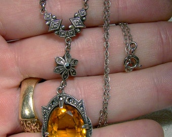 """Art Deco Sterling Silver Marcasites Amber Crystal Sautoir Lavaliere Necklace 1920s 17-1/2"""""""