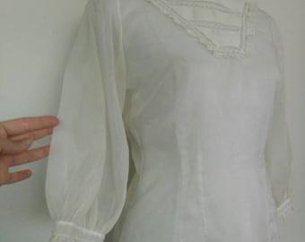 Vintage 50s/60s nylon blouse white top size S