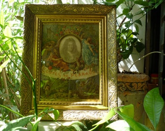 1900,French book cover,Contes de Perrault framed in antique,ornate,gilt,carved wooden frame.