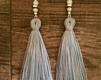 Tassel Earrings, Handmade, Long earrings, Drop earrings, Black earrings, Gray earrings,