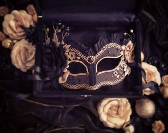 Black & Gold Masquerade Mask With Various Accents - Venetian Style Masquerade Ball Mask- Embellished Halloween Mask
