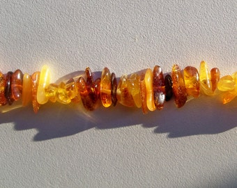 "Full 16"" strand of natural polished Baltic amber chips"