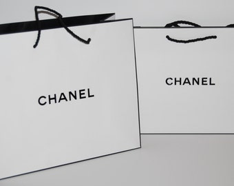 Lot of 2  Authentic CHANEL  White Medium Signature Party Bags Shopping Bags Perfect for Crafting, party favors, etc. NEW