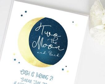 Two the Moon Birthday Invite | Moon, Stars, boy or girl