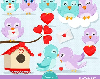 Valentines day clipart, Valentine clipart, Love birds, Heart clipart, Bird clipart, Love birds clipart - CA304