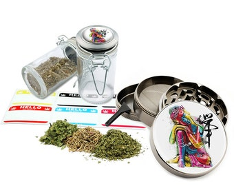 "Buddha Art - 2.5"" Zinc Alloy Grinder & 75ml Locking Top Glass Jar Combo Gift Set Item # G022115-063"