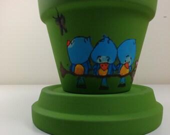 Flower pot, clay pot, terracotta, outdoor decor, interior decor, character in clay pot, outdoor, terra cotta