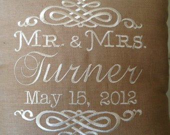 Mr. & Mrs. Anniversary, Shower or Wedding Pillow 6