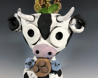 Cookie Cow Succulent Pot // Planter // Dairy Cow // Farm Animal // Ceramic // Handmade // Black and White // Gifts for Her // Cute //