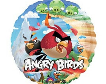 FAST SHIP TWO Angry Birds Birthday Balloons, Angry Birds Party Balloons, Angry Birds Mylar Balloon, Angry Birds Party Supplies