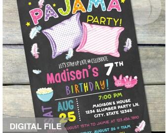 "Pajama Party Invitation - Slumber Party Birthday Sleepover Pajamas Chalkboard Style - DIGITAL Printable Invite - 5"" x 7"""
