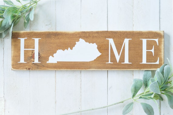 S A L E : Home Wood Sign, Home Decor, Wood Sign, Wall Art, Home, State Sign, Outline, Kentucky, Script, Lettering, Handpainted