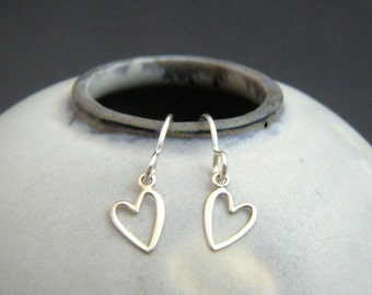 tiny sterling silver heart earrings. leverback dangles. open wire heart. everyday jewelry. sterling drop earrings. simple gift for her 1/4""