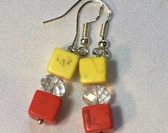 Orange and Lemon-- Drop Earrings