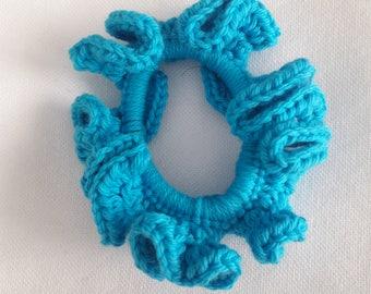 Aqua blue crocheted scrunchie