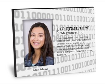 Graduation Picture frame -Programmer Definition Picture Frame - Personalization Available - 8x10 Frame - 4x6 Picture - Choice of Finish