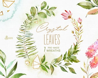 Crystal Leaves. 7 Wreaths. Watercolor floral & polygonal clip art, leaf, gold, green, geometry, wild, wedding, bridal template, minimalistic