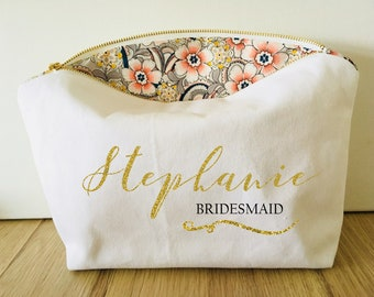 Bridesmaid Gift Personalised with Name Custom zip white pouch for cosmetics, makeup, bridal party, travel bag, hen weekend