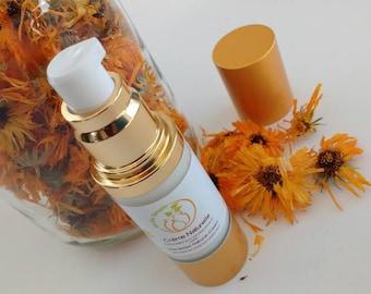 Natural calendula and seabuckthorn cream, no fragrance, for sensitive skin hypoallergenic, vegan, airless pump