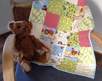 SOLD ** SOLD ** Handmade Patchwork Crib / Pram / Car Seat Baby Quilt Farm Themed