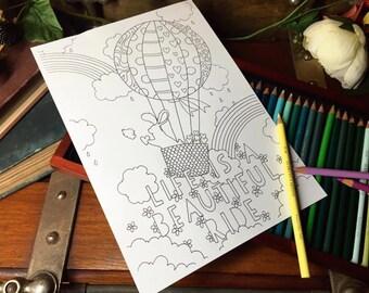 PAPER PANDA Colouring Sheet - 'Life Is A Beautiful Ride'
