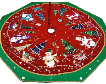 Christmas Tree Skirt is one of a kind item that took over 150 hours to complete and is 50 inches in diameter.