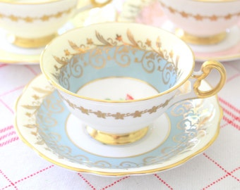Rare 20th Century, English Bone China Tea Cup & Saucer by E. Brain/Foley, Tea Party, Wedding Gift Inspiration - c. 1948 - 1963