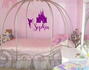 Disney Castle Wall Decal   Tinkerbell Wall Decals  Disney Decal  Custom  Name Decal