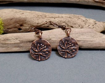 Small Copper Lotus Earrings - Lotus Flower Earrings - Dainty Copper Earrings - Lotus Charm Earrings - Free US Shipping