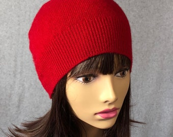 Zoey, Cashmere Hat,  cashmere beanie, color red