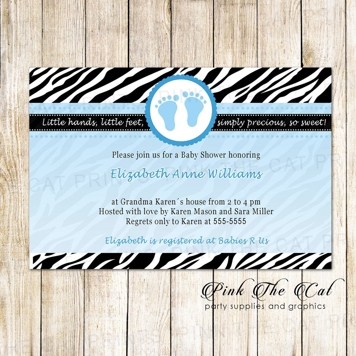 Blue Black Zebra Baby Shower Invitation Zebra Invitation For
