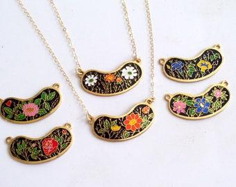 Gold Filled Floral Bib Necklace, Vintage Enamel Flowers Pendant, Mother's Day Gift, Layering Necklace, Minimalist Necklace, Floral Necklace