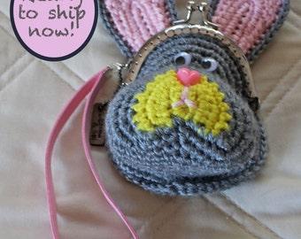Rabbit coin purse, gray   crochet bag   bunny wristlet   choose your strap length & color   Easter / faire purse/clutch   gray wristlet