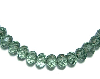 4x6mm faceted acrylic rondelle beads in Sage Green 100 beads