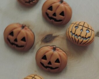 "SALE Pumpkin Buttons, Novelty Button Assortment Package, ""Jack O Lantern"" by Buttons Galore, #4526Assorted Styles, Shank Back Buttons"