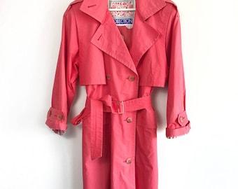 COLLECTION • COAT • S / M • Vintage jacket • Raspberry • Pink • Women • 90's Trenchcoat