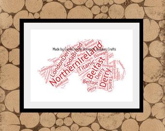 Map Of Northern Ireland Word Art, Ireland Word Collage, Ireland Word Cloud, Irish Word Collage, Northern Ireland Map.